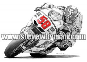 Marco Simoncelli black and white