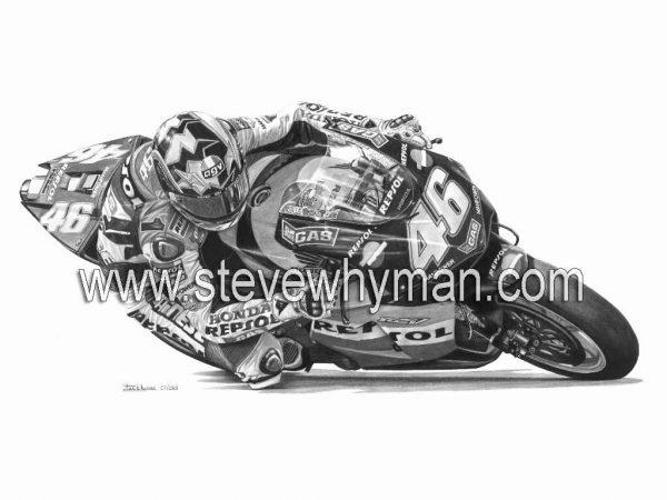 Valentino Rossi 2003 black and white2