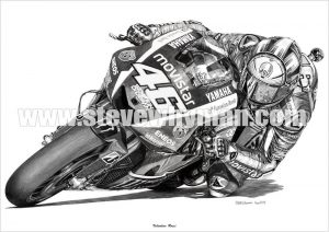 Valentino Rossi pencil drawing 2015